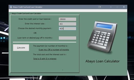 Image sur Loan Calculator and Personal Data Vault for Windows ® PC